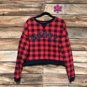 Fifth sun buffalo plaid Merry Christmas sweatshirt